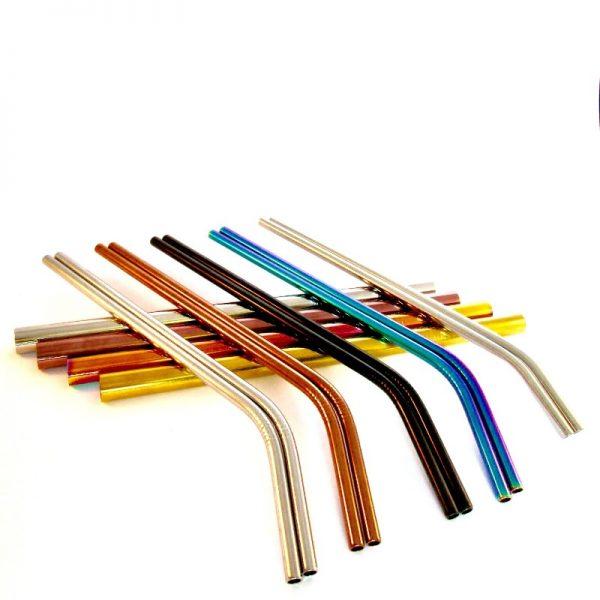 Coloured metal straws