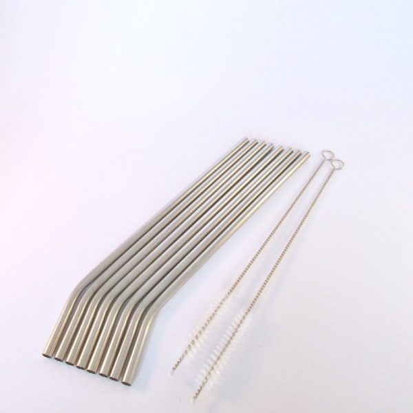 Reusable metal straws with cleaning brush