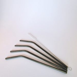 Black Reusable metal straws with cleaning brush
