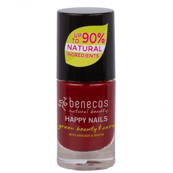 Cherry red vegan natural nail polish by benecos