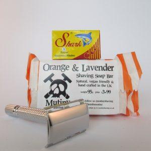 Shaving kit consisting of safety razor, blades and shaving soap