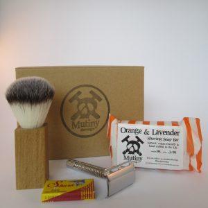 Shaving kit consisting of safety razor, blades, shaving brush and shaving soap by Mutiny