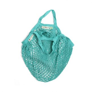 Organic cotton string bag aquamarine short handle by turtle bags