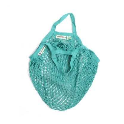 Organic cotton string bag aquamarine short handle by turtle bags