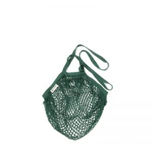 Organic cotton string bags bottle green long handle by turtle bags