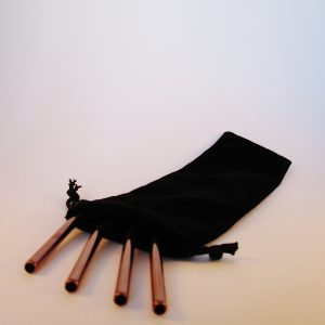 Metal reusable straws with a black pouch
