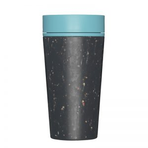 Reusable Eco-Friendly Coffee Cup by rCup. Black cup with Teal lid.