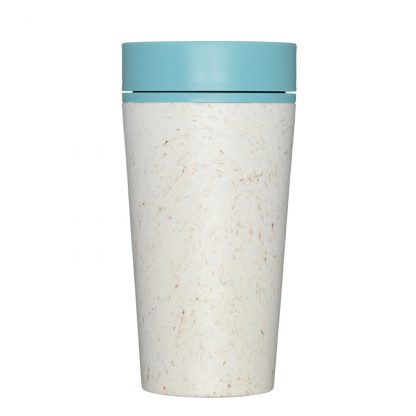 Reusable Eco-Friendly Coffee Cup by rCup. Cream cup with Teal lid.