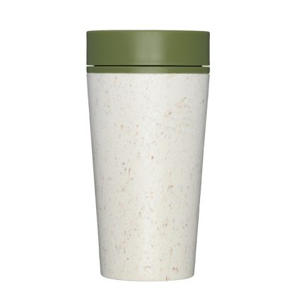 Reusable Eco-Friendly Coffee Cup by rCup. Cream cup with Green lid.