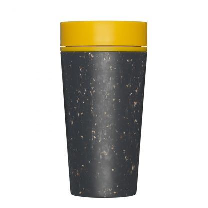 Reusable Eco-Friendly Coffee Cup by rCup. Black cup with Mustard lid.
