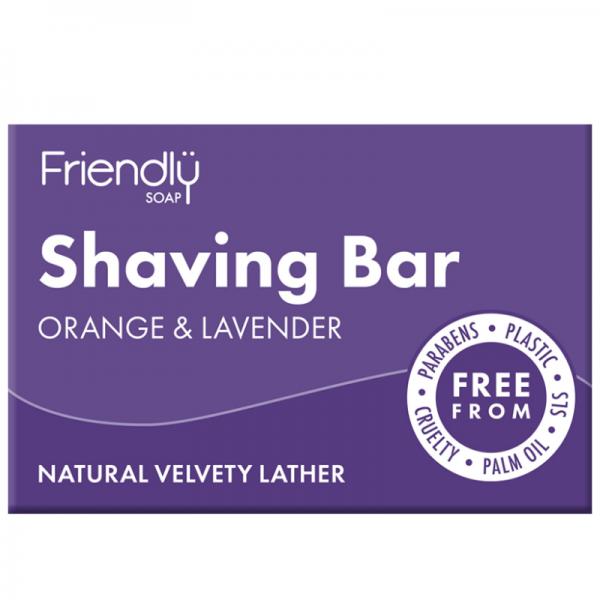 Natural vegan orange and lavender shaving soap bar
