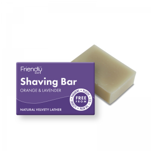 Natural vegan orange and lavender shaving soap bar