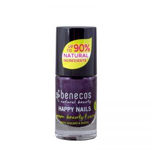 Natural vegan nail polish, purple colour.