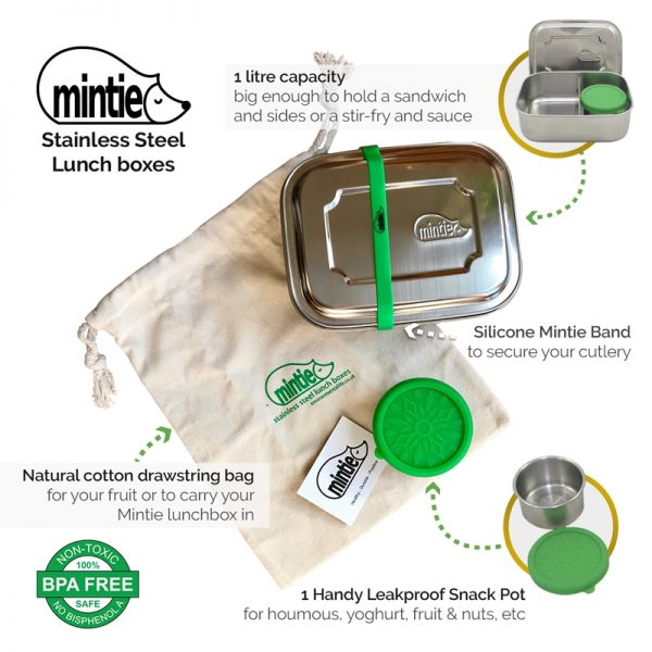 Stainless Steel lunchbox and water bottle in cotton bag by Mintie