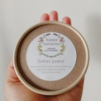 Natural plastic free body moisturiser, flower power, by Happy Holistics.