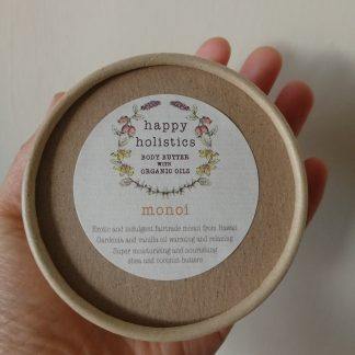 Natural plastic free body moisturiser, monoi, by Happy Holistics.