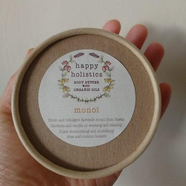 Natural plastic free body moisturiser, monoi, by Happy Holistics.