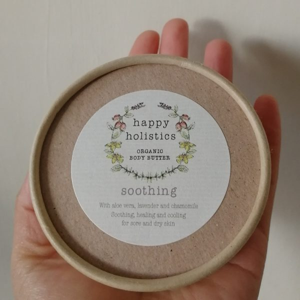 Natural plastic free body moisturiser, soothing, by Happy Holistics.
