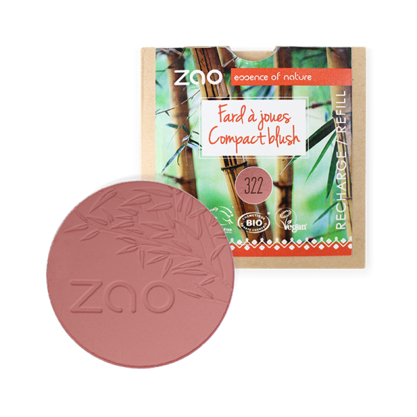 Natural Compact Blush Refill by Zao, Brown Pink Colour