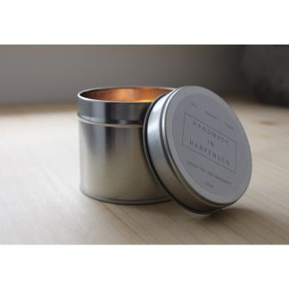 Natural Candle in a tin by Handmade in Harpenden.
