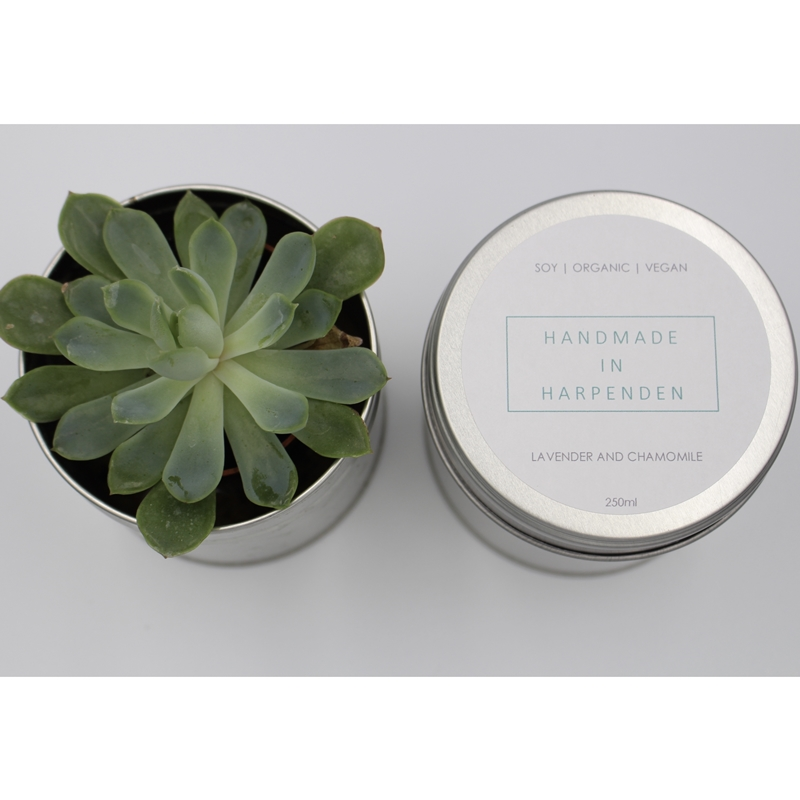 Lavender and Chamomile Natural Candle in a tin by Handmade in Harpenden