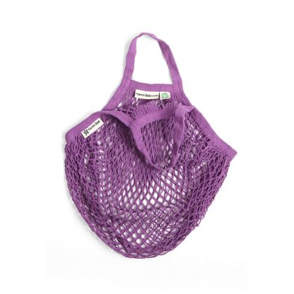 Purple string bag by turtle bags, with short handle.