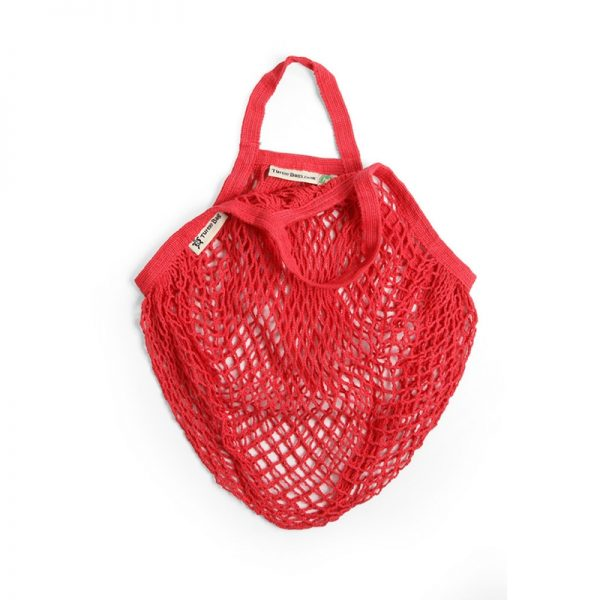 Red string bag by turtle bags, with short handle.