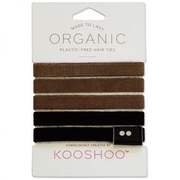 Plastic Free Hair Ties Bobbles. Brown and Black colours by Kooshoo