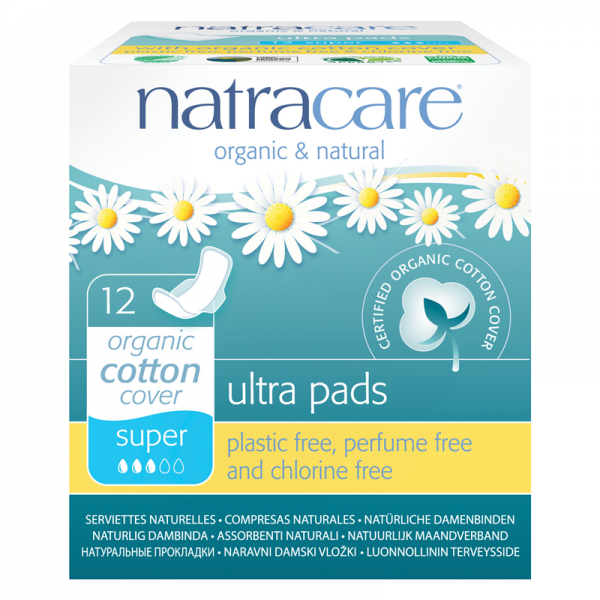 Organic Cotton Sanitary Pads with Wings, Super by natracare