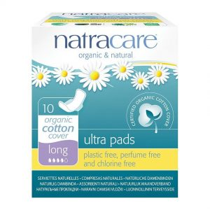 Organic Cotton Sanitary Pads with Wings, Long by natracare