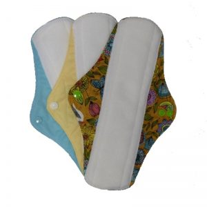 Reusable Sanitary Pads Size Long by Earthwise. Blue Yellow and Exotic Pattern.