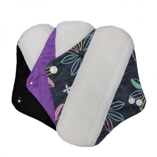 Reusable Sanitary Pads Size Medium by Earthwise. Black Purple and Black with Flowers.