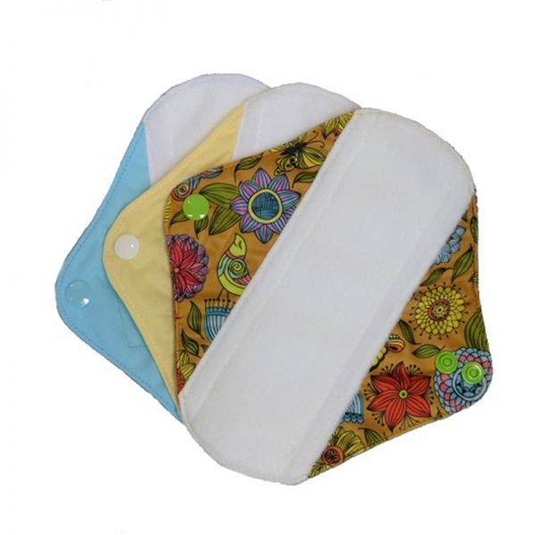 Reusable Sanitary Pads Size Small by Earthwise. Blue Yellow and Exotic Pattern.