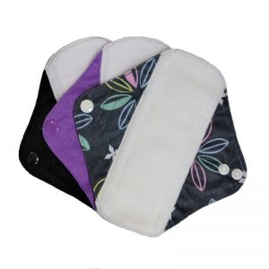 Reusable Sanitary Pads Size Small by Earthwise. Black Purple and Black with Flowers.