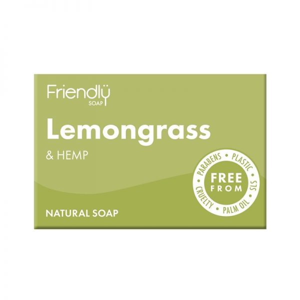 Natural Vegan Lemongrass and Hemp Bar of Soap by Friendly