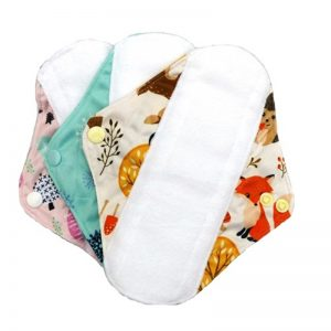 Reusable Sanitary Pads Size Small by Earthwise. Woodland Pattern.