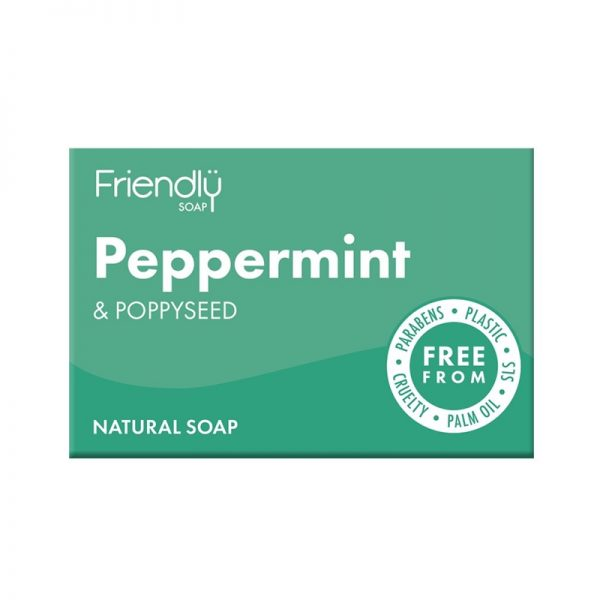 Natural Vegan Peppermint and Poppyseed Bar of Soap by Friendly