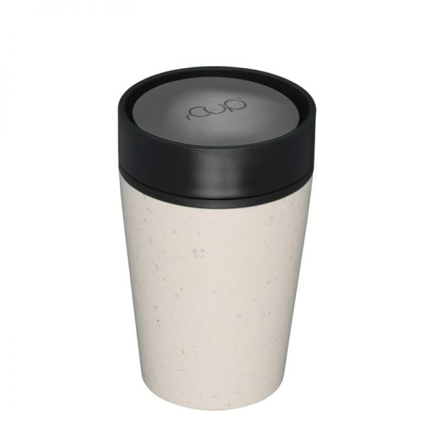 Cream Reusable Coffee cup with black lid