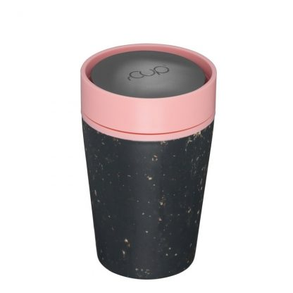 Black Reusable Coffee cup with pink lid