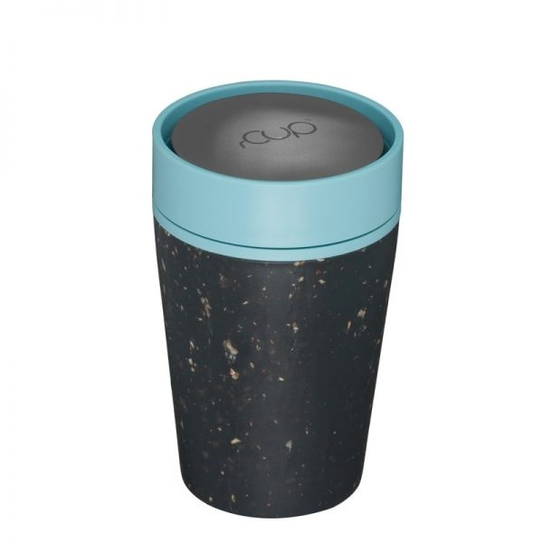Black Reusable Coffee cup with teal lid