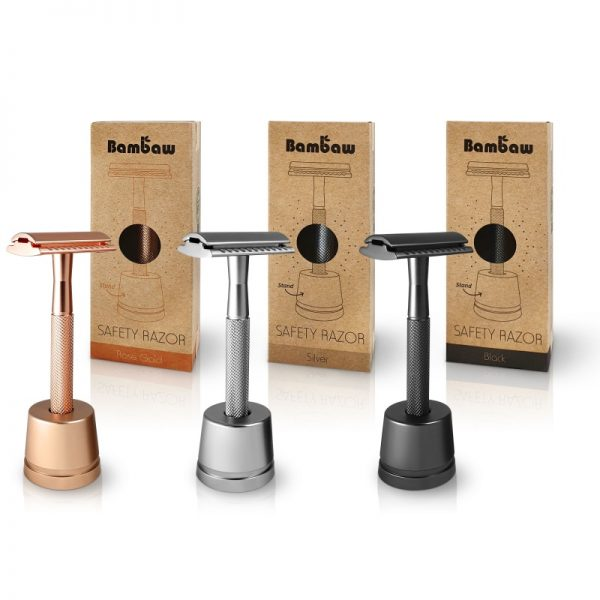Bambaw Rose gold silver black metal safety razor reusable plastic free with stand