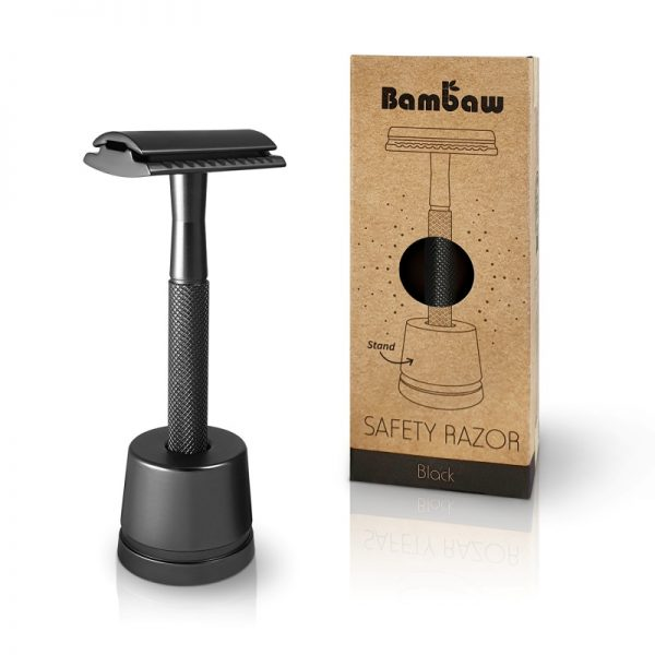Bambaw Black metal safety razor reusable plastic free with stand