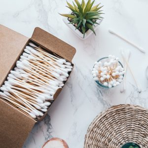 BamBaw cotton buds 400 organic cotton bamboo stick 100% compostable plastic free