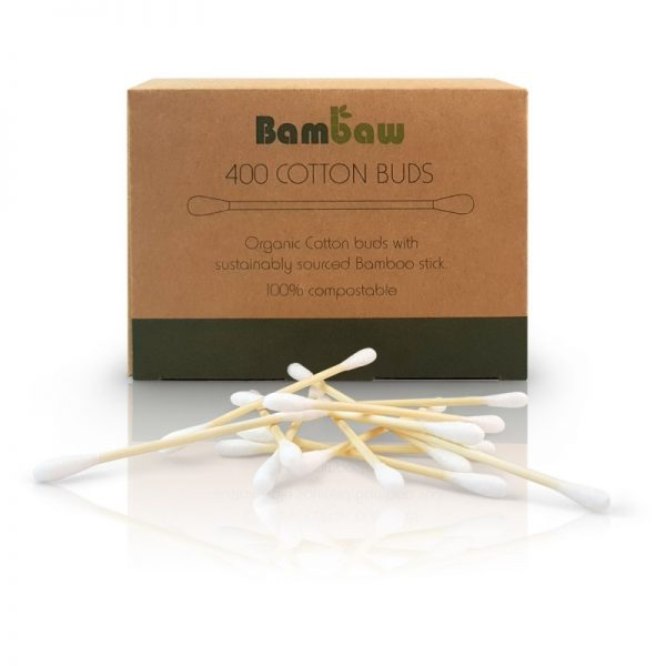 BamBaw cotton buds 400 organic cotton bamboo stick 100% compostable plastic free