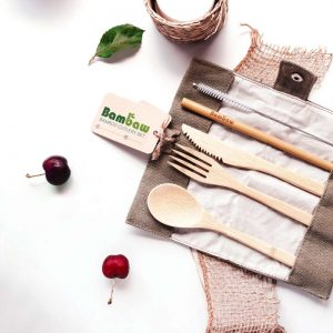 BamBaw plastic free cutlery set Bamboo knife fork spoon straw and straw cleaning brush and carry case