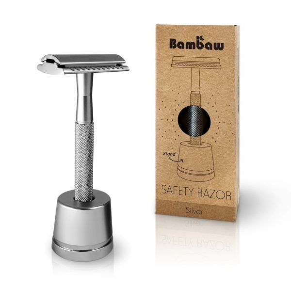 Bambaw Silver metal safety razor reusable plastic free with stand