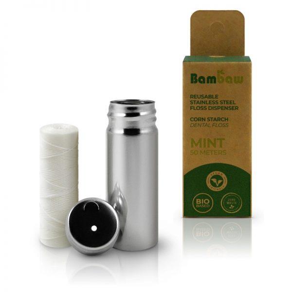 BamBaw Corn starch dental floss mint flavour plastic free zero waste stainless steel dispenser