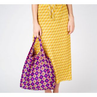 Reusable shopping bag made from recycled saris