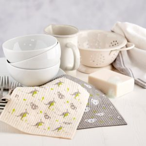 Compostable Sponge Cleaning Cloths with Grey Koala and White Kangaroo pattern