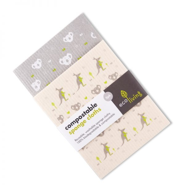 Compostable Sponge Cleaning Cloths with grey Koala and Kangaroo pattern